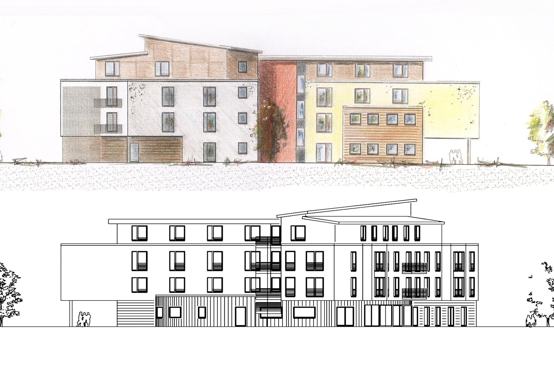 KUE (Sozial- und Sonderbauten + Wettbewerbe und Entwürfe) Erweiterung / Neubau eines Altenpflegeheims